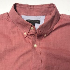 BANANA REPUBLIC Red Soft Wash L/S Oxford Shirt